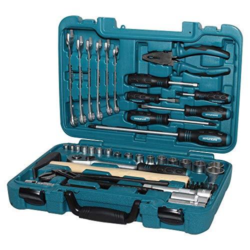 HYUNDAI Werkzeugset K56 (56-teiliger Werkzeugkasten aus Cr-V-Stahl, 72-Zahn Umschaltknarren, SUPER LOCK Steckschlüsseln, Werkzeugkoffer, Steckschlüsselsatz, Profiwerkzeug, Ratschenset, Knarrenkasten)