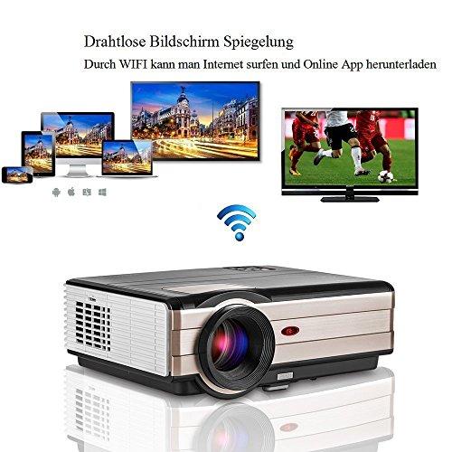 EUG ANDROID WIFI Projektor LCD LED Beamer 3500 Lumen 4500 Kontrast unterstützt 1080p Airpaly Miracast Blue-ray DVD PC PS4 Smartphone für Heimkino home cinema (2017 Aktualisierte Bildschirm)