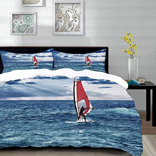 parure de lit adulte,housse de couette,Montez la vague, planche à voile dans la mer aventure exotique Happy Summer Beach Challenge ,1 Housse de couette 240 x 260cm + 2 Taies d'Oreillers 63 x 63 CM