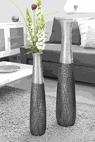 GILDE Keramik Vase Charleston anthrazit/Silber H = 60 cm D = 1,2 cm