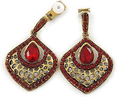 Estilo Retro inspirada en Ruby rojo de cristal en forma de lágrima Clip en los pendientes en oro antiguo tono–40mm L