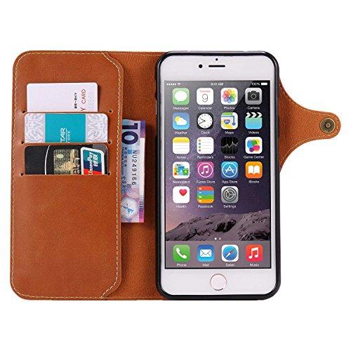 """MOONCASE iPhone 7 Plus Coque, Card Slots Faux Cuir Flip Portefeuille Housse Flexible TPU Antichoc Protection Étuis Case pour iPhone 7 Plus 5.5"""" Rouge Marron Clair"""