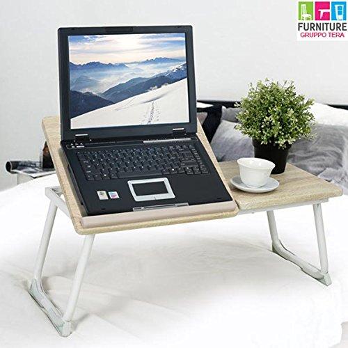 BAKAJI Tavolino Vassoio da Letto Divano per Notebook PC Laptop Pieghevole Leggio 65x30cm, Tavolino Colazione da Letto