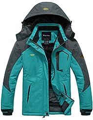 Wantdo Femme Anorak Veste de Ski Imperméable Coupe-vent à Capuche Amovible Coupe-pluie