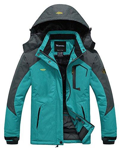 Wantdo Femme Anorak Veste de Ski Imperméable Doublure en Polaire Coupe-Vent à Capuche Amovible Coupe-Pluie Bleu FR:XL (Taille Fabricant:L)