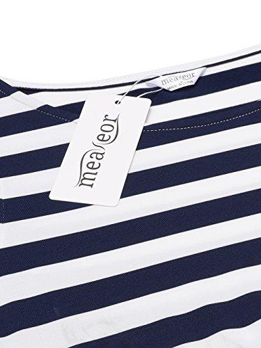 Meaneor Damen Ärmellos Maxikleid Strandkleid Sommerkleid Gestreiftes Kleid Bodenlang Rundhals Casual Schwarz Weiß Gr.S-XXL Blau