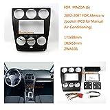 zwnav KFZ Audio Radio Einbaurahmen Faszie Panel für Mazda (6), Atenza 2002–2007W/Pocket (PCB für manuelle Klimaanlage) Stereo Faszie Dash CD Trim Installation Kit