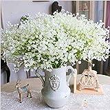 Moda 10 pezzi bianco Gypsophila falso artificiale bello fiore del partito della casa di nozze Fiori Decor(Bianca 1)