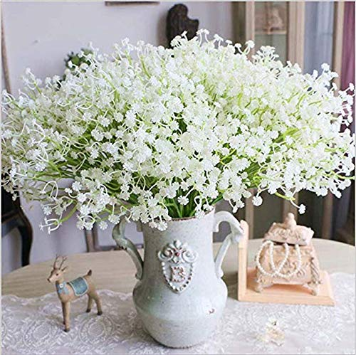 Moda 10 pcs blanco gypsophila Artificial Fake Hermosa