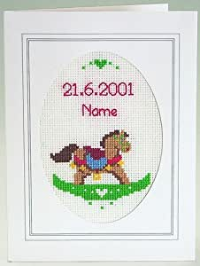 Cheval à bascule bébé naissance point de croix kit Carte
