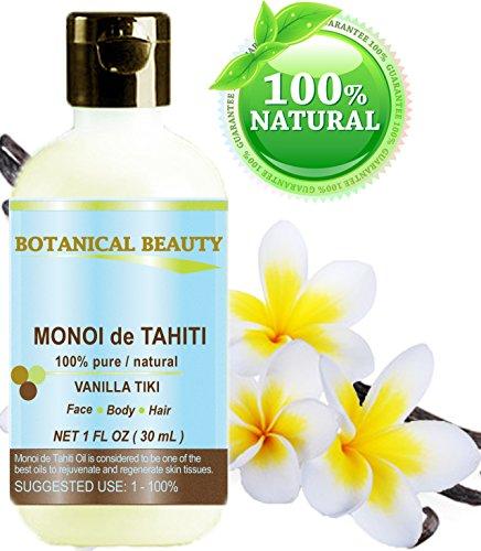 Monoï de Tahiti Öl 100% reine / Natur. Kaltgepresste / unverwässerte / Virgin / Vanille tiki / Polynesien Originalgarantie. Für Gesicht, Haare und Körper - 30 ml.