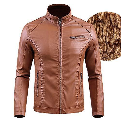 GAOQQ Männer Plus Samt Reißverschluss PU Leder Wintermode Jacke Reine Farbe Mantel Tops, L-6XL,Brown-5XL (Mann Mäntel Für Leder Den Aus)