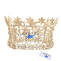 Santfe Stars Crystal Flower Golden Wedding Bridal Party Pageant Prom Tiara Crown