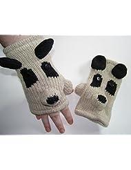 Señoras, Childs Panda Animal guantes sin dedos de forro polar unisex ropa de esquí