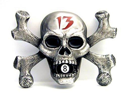 Fibbia Skull & Bones, Teschio, Lucky 13, Nero otto