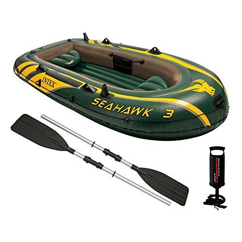 Preisvergleich Produktbild Intex 68680 Boot Seahawk 3 mit Paddel und Luftpumpe, grün, 295 x 137 x 43 cm / für 3 Personen