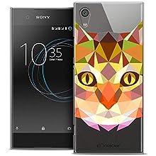 Caseink - Coque Housse Etui pour Sony Xperia XA1 (5) [Crystal Rigide HD Polygon Series Animal - Souple - Ultra Fin - Imprimé en France] Chat