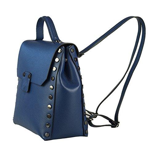 ZETA SHOES Zaino donna in vera pelle made in italy borchie MainApps Blu