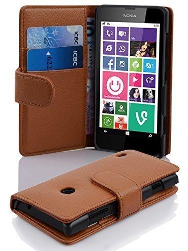 Cadorabo Hülle für Nokia Lumia 630/635 - Hülle in COGNAC BRAUN – Handyhülle mit Kartenfach aus struktriertem Kunstleder - Case Cover Schutzhülle Etui Tasche Book Klapp Style