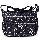 ABLE Waterproof Shoulder Bag Casual Handbag Messenger bag Crossbody Bags Multi-functional pocket design: can plug flat, book, wallet, etc (4-black(floral))