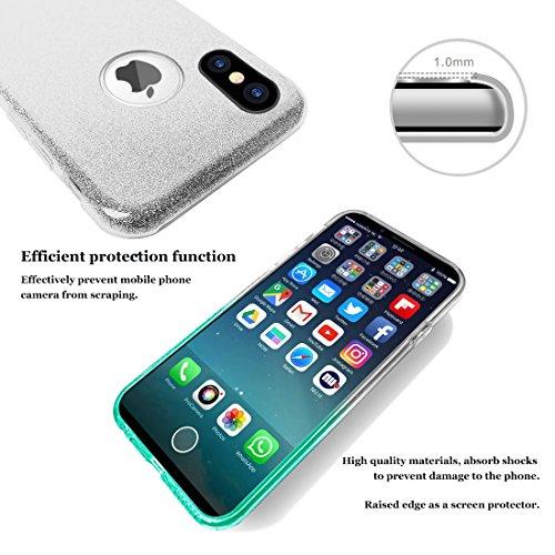 Custodia iPhone X/10 Cover Case, WZE-Shock Assorbimento, copertura TPU resistente ai graffi e materasso in plastica magnetica Bling Crystal Clear Premium 3 Layer Miscela Custodia protettiva per iPhone Gradient-Blue