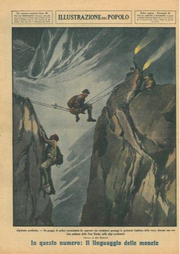 Alpinismo acrobatico. Un gruppo di ascensionisti ha superato con vertiginosi passaggi le profonde fenditure delle rocce, durante una scalata notturna della Tou Ronde, nelle Alpi occidentali.