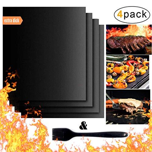 BMOK BBQ Grillmatte (4er Set): Zum Grillen/Backen| wiederverwendbar| Holzkohlegrill, Gasgrill, Elektrogrill | Teflon antihaft| Backmatte für Backofen| 0,3mm extra dick je 40x33cm bis 260°C -