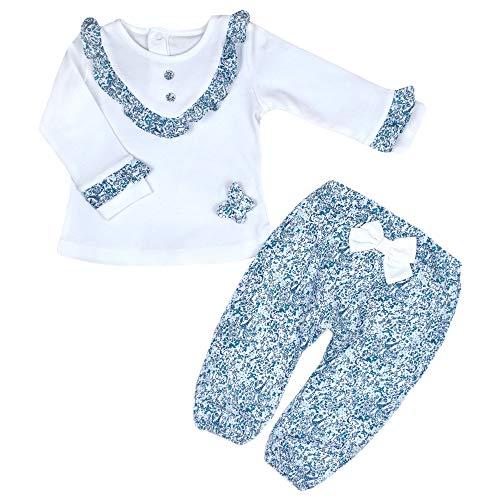 bbaby Babybekleidung Oberteil und Hose Mädchen Zweiteiliger Anzug Blumenmotiv Bekleidungssets Babyanzug Neugeboren Sweatshirt Festoutfit (68, 2-teilig (S 1030))