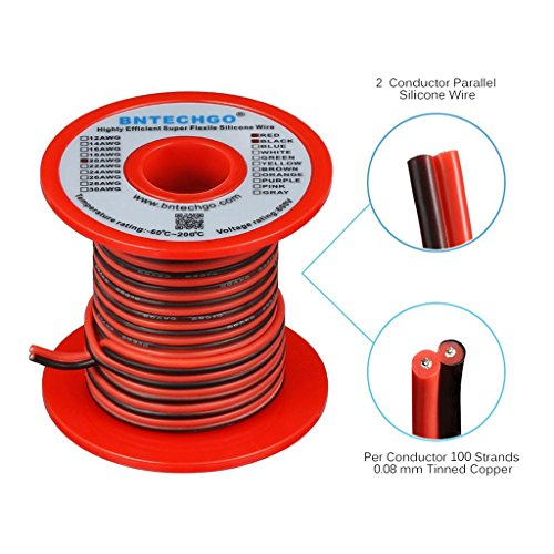 BNTECHGO 20 Gauge Flexible 2 Conductor Parallel Silicone Wire Spool Red Black High Resistant 200 deg C 600V for Single Color LED Strip Extension Cable Cord,model,lead wire 25ft Stranded Copper Wire -
