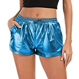 TWIFER Damen Hohe Taille Yoga Sport Shorts 2018 Sommer Kurz Hosen Shiny Hotpants Metallic Leggings (M, Blau)