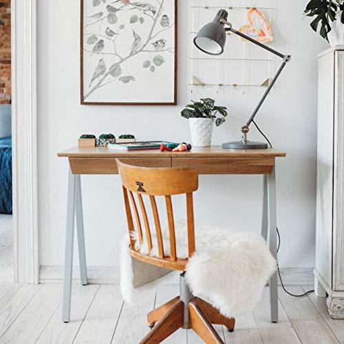 Handgefertigte Eichen Möbel (borcas® Vogel Schreibtisch grau mit Schubladen, Made in Poland, modernes Design, handgefertigt aus natürlichem Holz: Eiche, Buche, 100x77x50cm)