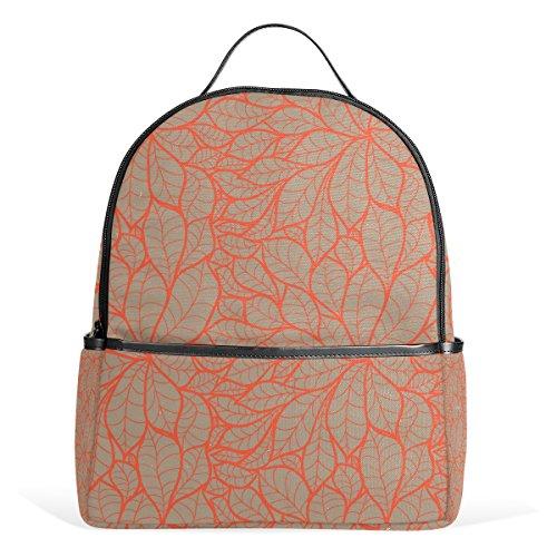COOSUN Doodle Kastanien-Blätter-Schule-Rucksack Leichte Canvas-Buch-Tasche für Junge Mädchen Kinder Multi (Kastanien-blatt)
