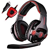 SADES SA903 Lumières pour les joueurs PC 7.1 Surround Sound Pro stéréo USB Gaming Headset Bandeau Casques avec microphone Deep Bass Over-the-Ear Volume Control LED (Noir)