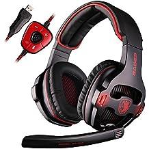 SADES SA903 7.1 Surround Sound Stereo Pro USB de la PC Gaming Headset Auriculares diadema con micrófono Deep Bass Over-the-Ear Control de Volumen LED Luces para jugadores de PC (negro)