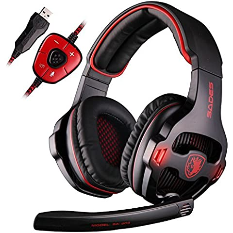 Sades SA903 7.1 Surround Sound professionale PC USB Gaming Headset fascia cuffia stereo con microfono, bassi profondi, Over-the-Ear-regolatore di volume luci LED per PC Gamers