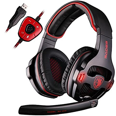 SADES SA903 7.1 Surround Sound Stereo Pro PC USB Gaming Headset Headband Headphones with Microphone Deep Bass Over-the-Ear Noise Isolating Volume Control LED Lights For PC Gamers(Black)