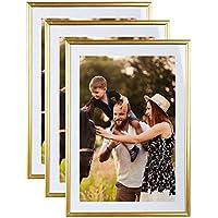 Conjunto de 3 marcos de la foto A4 Oro (21x29.7 cm) - resina marco de fotos con panel de vidrio de protección - Se suministra con el puente del pie y ...