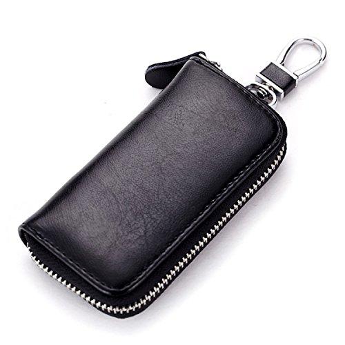 Jia Qing Leder Mini Multifunktions Damen Herren Geldbörse Schlüssel Tasche,Black-OneSize (Schlüsselkasten Herren Geldbörse)