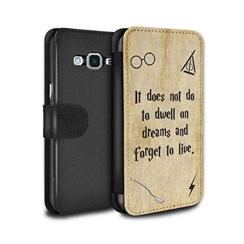 Stuff4® PU-Leder Hülle/Case/Tasche/Cover für Samsung Galaxy Grand Prime/Dwell On Dreams Muster/Schule der Magie Film Zitate Kollektion