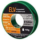 ELV No-Clean Lötzinn bleifrei Sn99Cu1+ML, 0,5 mm, 100 g