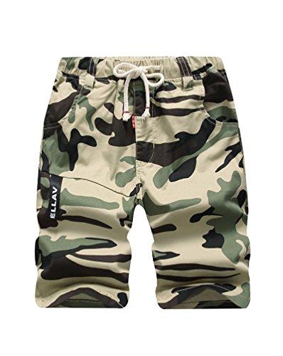 Lau's Bermuda Shorts Jungen Army Militär Camouflage 3/4 Kurz Hose Kinder mit Gummizug Khaki 12-13 Jahren