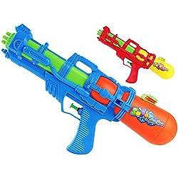 Wasser-Gewehr mit Click to Shoot 40cm Kinder-Spielzeug Blau Grün Rot Wasser-Spritze Sommer-Spielzeug Spielzeug-Pistole Wasser-Gewehr Aqua-Gun Pool-Kanone Planschbecken-Pistole Garten-Party Spielzeug-Waffe Swimming-Pool-Gun