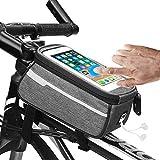Fahrrad Rahmentasche, Wasserdicht Fahrradtasche Rahmentaschen Fahrrad Handyhalterung für Mountainbike Rennrad MTB BTR, passend für 6 Zoll Smartphone Handy, TPU Touchschirm mit Kopfhörerloch