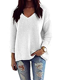 Mikos Damen Pullover Winter Casual Long Sleeve Loose Strick Pullover  Sweater Top Outwear (627 78d43ca638
