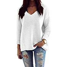 c90529cbe5b439 Mikos*Damen Pullover Winter Casual Long Sleeve Loose Strick Pullover  Sweater Top Outwear (627