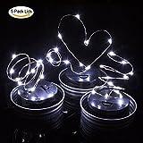 Mason Lids Lamp 5 Stück Solarleuchten Solar Licht, Dekorative Leuchten 10 LED Multi Farbe Lichter String für Hochzeit Weihnachten Urlaub Party Beleuchtung