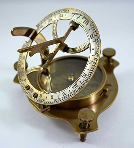 Price comparison product image Antique Sundial Compass Replica 4in - Solid Brass Pocket Sundial - West London