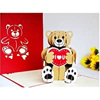 BC Worldwide Ltd Handmade 3D pop up card orsacchiotto amore cuore ti amo compleanno san valentino giorno del papà festa della mamma fidanzamento regalo di nozze anniversario nascita del bambino natale nuovo anno presente per lui la