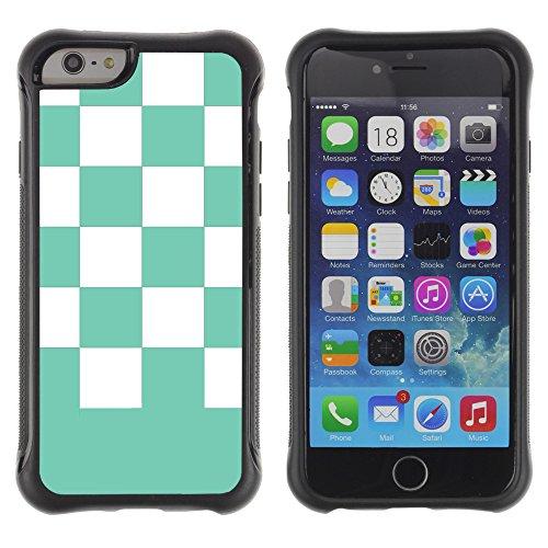 Graphic4You Kariert Muster Design Shockproof Anti-Rutsch Weichen Hülle Case Tasche Schutzhülle für Apple iPhone 6 / 6S (Grün) Bleu Aqua