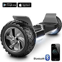 Idea Regalo - Cool&Fun Hoverboard Challenger Basic Monopattino Elettrico Autobilanciato, Balance Scooter Skateboard, con Due ruote 8.5 in, Bluetooth, APP e LED,Inclusa Batteria e Borsa,15Km/H (Black)